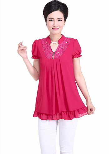 New 2015 Cheap Clothes Summer Ladies Shirts Women Candy Color Short Sleeve Chiffon Blouses Plus Size Free Shipping
