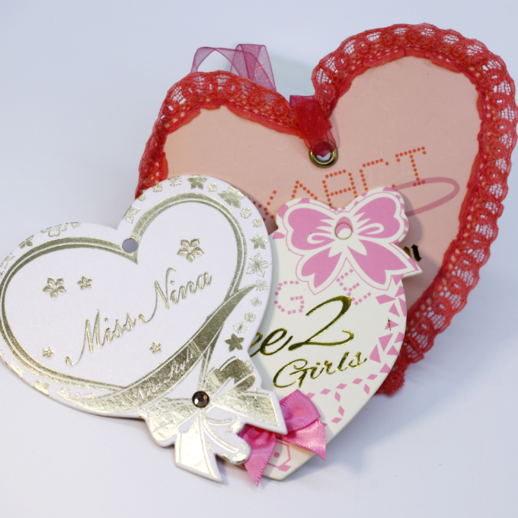 Best price private label clothing heart hang tag with good service