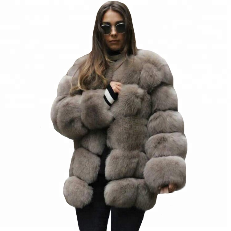 2018 Winter Furs Hot Fashion Frauen Wintermantel Kleidung Lange Grau Faux Fuchspelz Jacken Pelzmantel