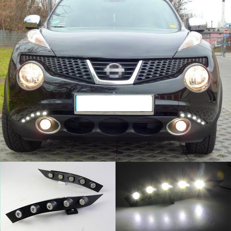Из светодиодов DRL для Nissan Juke 2011 2012 2013 дневного света грили-барбекю лампы, Стайлинга автомобилей аксессуары