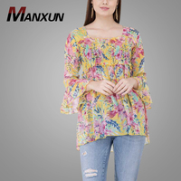 Newest Design Casual Bell Sleeve Printed Yellow Chiffon Lady Tops Women's Blouse & Tops 2019