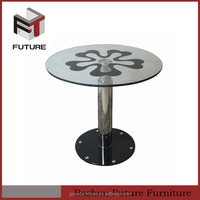 glass round dinner table with metal frame for out door
