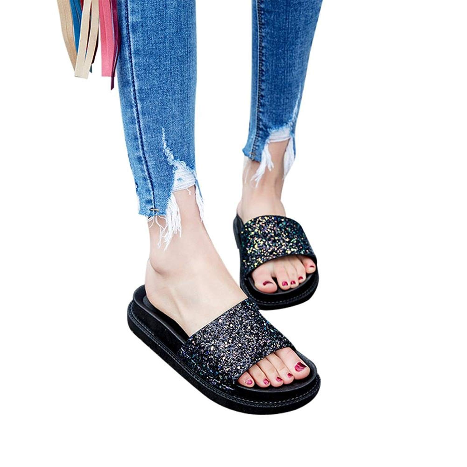 Elevin(TM) Women Flip Flops Flat Sandals Solid Color Wedge Sandals Slippers Girl House Shoes Summer Beach Mules