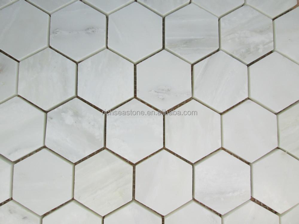 Hexagon Tegels Wit : Wit met grijs gestreepte hexagon mozaïek tegel buy wit mozaïek