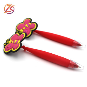 fancy rubber flexible pen promotion cute cartoon gift pen red butterfly design custom promotional pen
