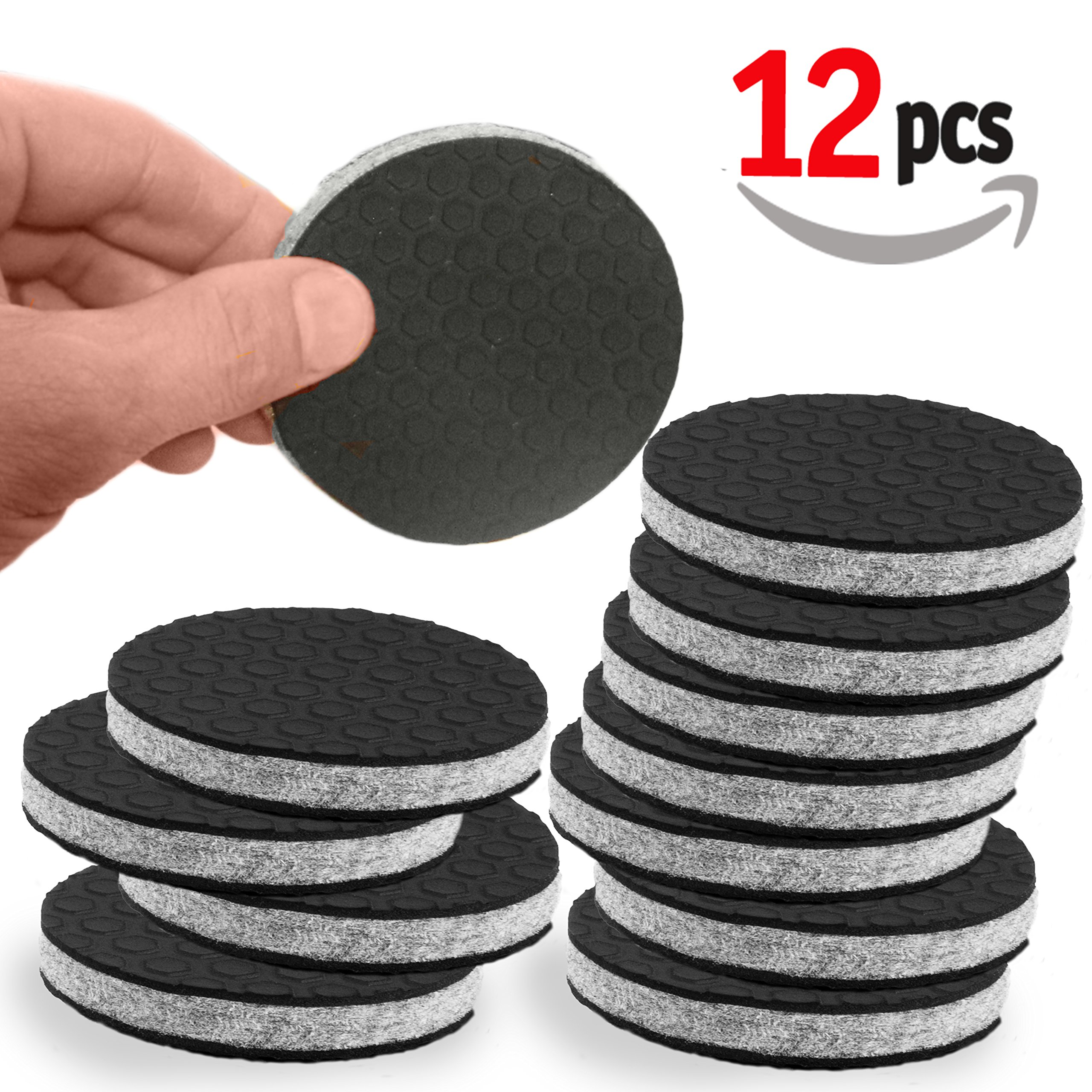 """SlipToGrip"" NON SLIP Furniture Pad Grippers - Large 3"" Furniture Grippers - Stop Furniture Slide - 12 Pack - Round Floor Pads - 3/8"" Heavy Duty Felt Core."