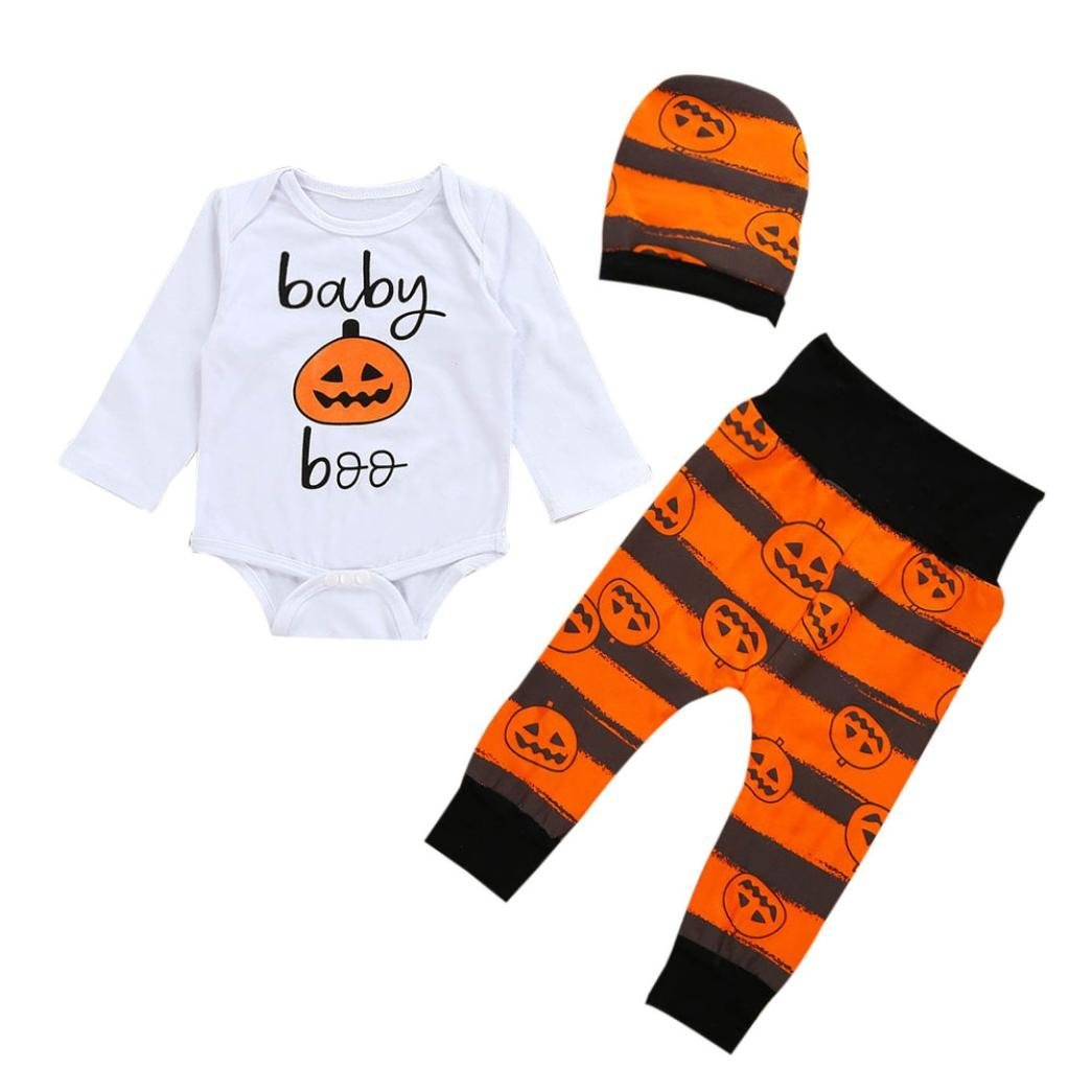 Halloween Baby Girls/Boys Clothes, Leewa@ 3PCS/Set Long Sleeve Pumpkin Romper Bodysuit Top with Hat And Pants