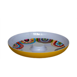 Wholesale cheap 13 inch melamine plastic party fruit candy dessert plate dish with cup stand