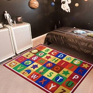 "Furnish my Place 3' x 5' ABC area rug Alphabet Boxes Multicolor area rug Actual size 3'3"" x 5"" Anti skid backing"