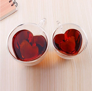 Custom Fancy Heart Shaped Glass Cup