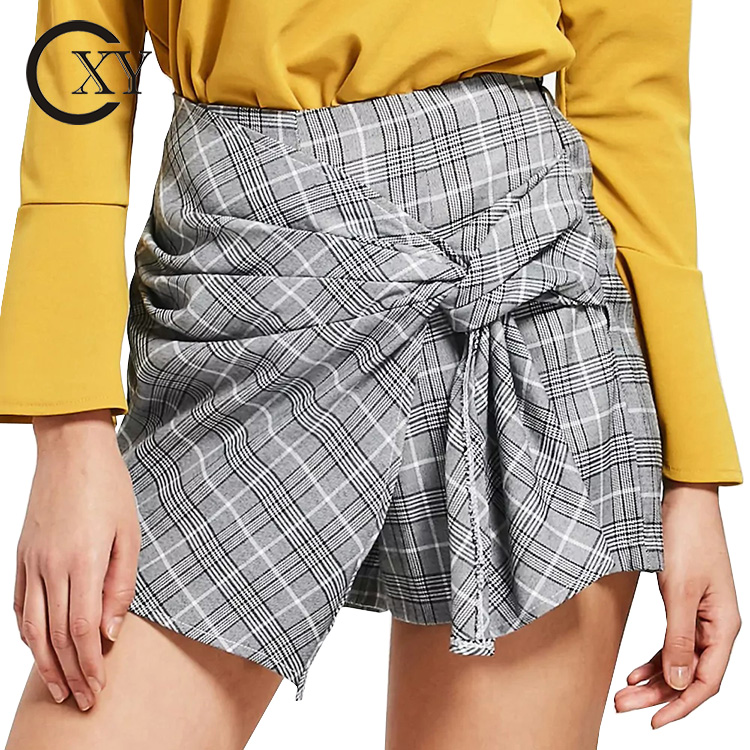 2018 sommer Frauen Bowknot Überprüft Hohe Taille Shorts