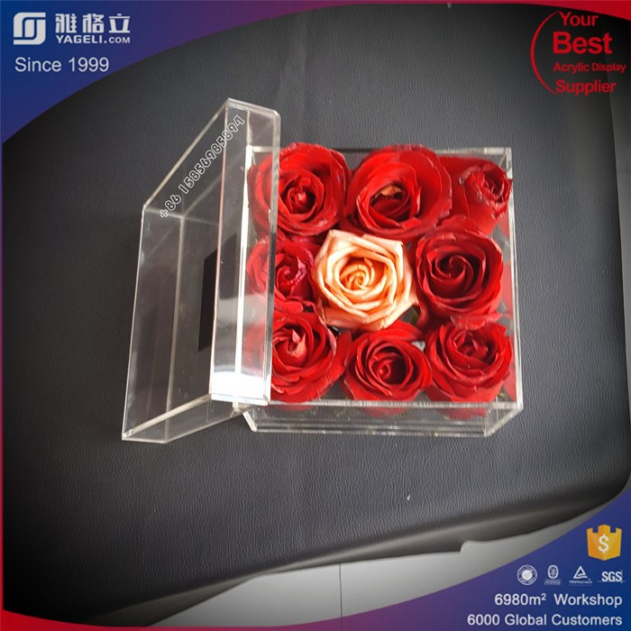 Wholesale 9 Holes Square Luxury Clear Acrylic Rose Flower Box With Lid