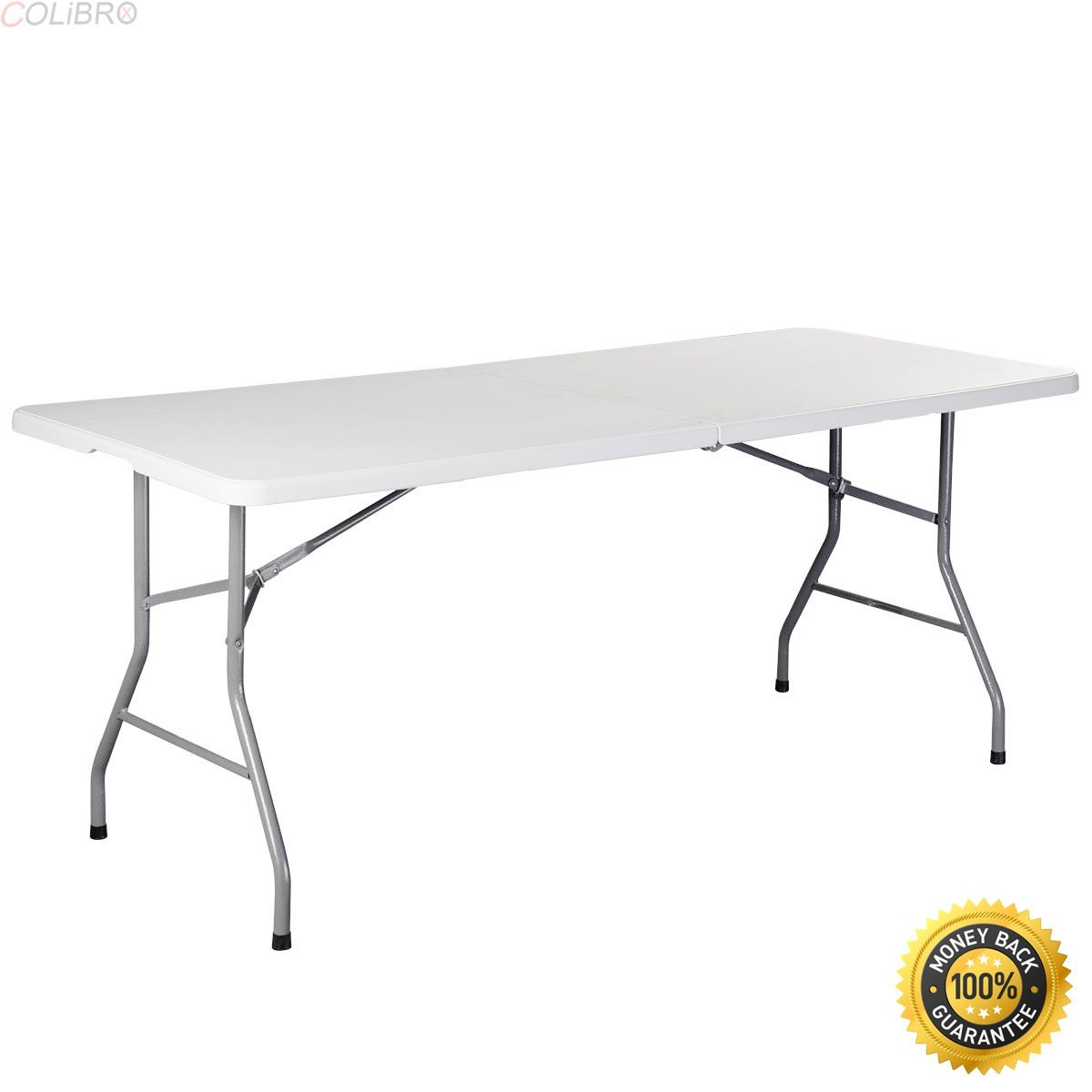 COLIBROX--6' Folding Table Portable Plastic Indoor Outdoor Picnic Party Dining Camp Tables, 6Ft Portable Multipurpose Fold In Half Table,Folding Table,6 foot adjustable height fold in half table