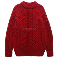 High quality wholesale cable knit acrylic sweaters long sleeve round neck chunky pullover for women