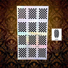 1 Sheet Flash Nail Vinyls Finger Sticker Stencil Laser Hollow Pattern Airbrush Women HJV207 Nail Art