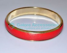 gold plated solid red leather fancy bangles