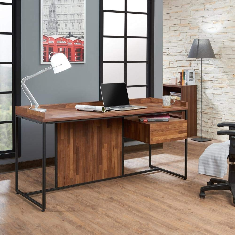 Major-Q Contemporary Office Desk with Wooden Top and Metal Glide Drawer in a Walnut Finish and Sandy Black Metal Legs 62 x 24 x 31H