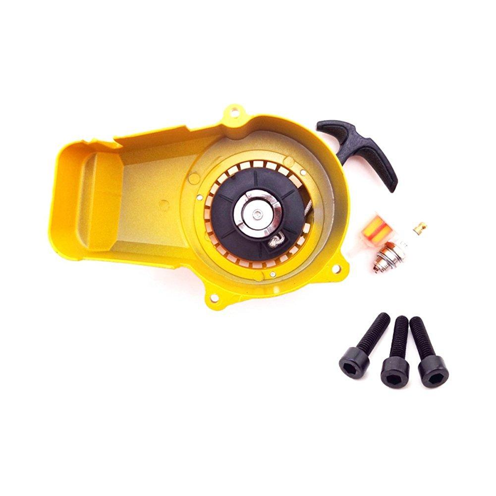TC-Motor Yellow Aluminum Recoil Pull Starter + Spark Plug + Fuel Filter + Screws For 2 Stroke 47cc 49cc Engine Parts Mini Moto Dirt Pocket Bike ATV Quad