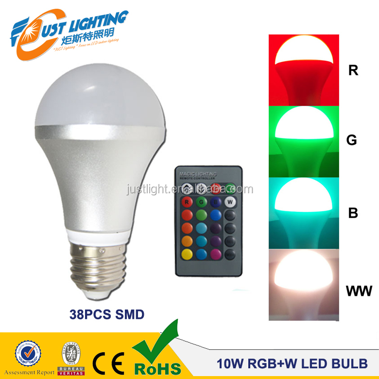 A19 Dimming 16 color led change color lamps 9w Remote Control RGB+W led light bulb <strong>e27</strong>