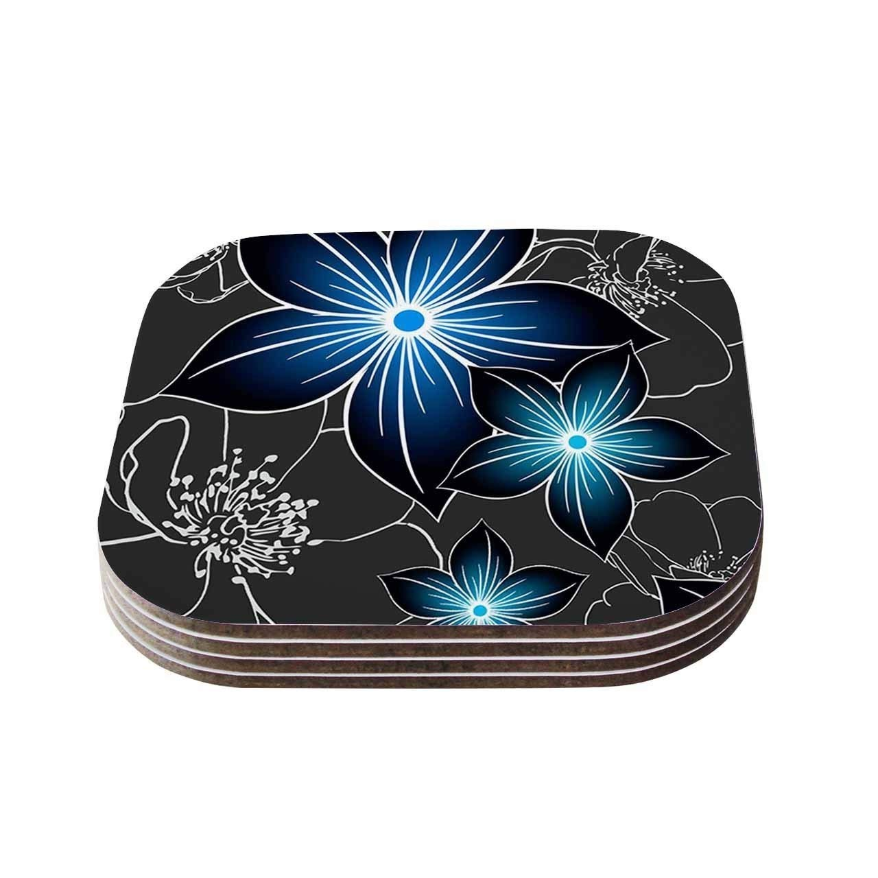 Set of 4- Gray Blue White Charcoal and Cobalt Flower Wooden Coasters, Floral Themed Square Shaped Drink Mat, Home Decor Paisley Garden Nature Drinkware, Compressed Wood