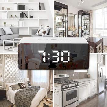 Digital Alarm Clock, LED Display Clock Best Makeup Bedroom Mirror Travel Alarm  Clock