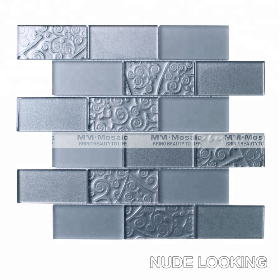 MM Mosaik 2 U0027u0027x 4u0027u0027 Grau Glas U Bahn Fliesen