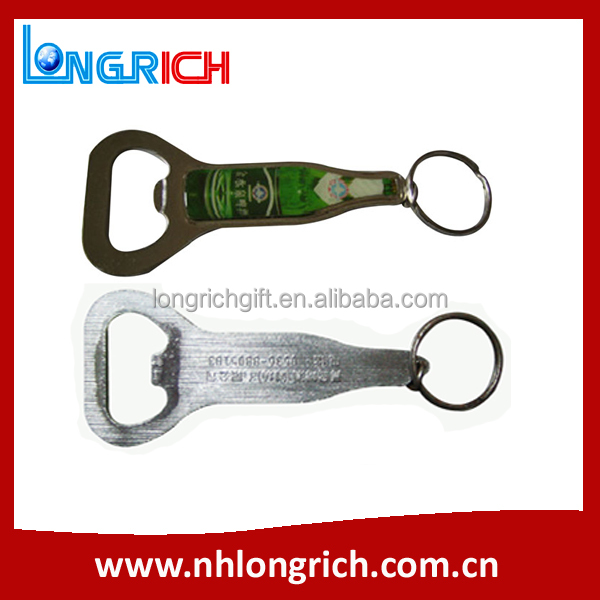 Logo Printed Beer Bottle Shaped Metal Bottle Opener With Fridge magnet