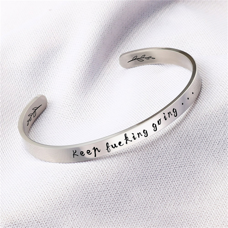 Inspirational Gift C Shape Silver Open Cuff Bangle 6MM 8MM Stainless Steel Cuff Bangle