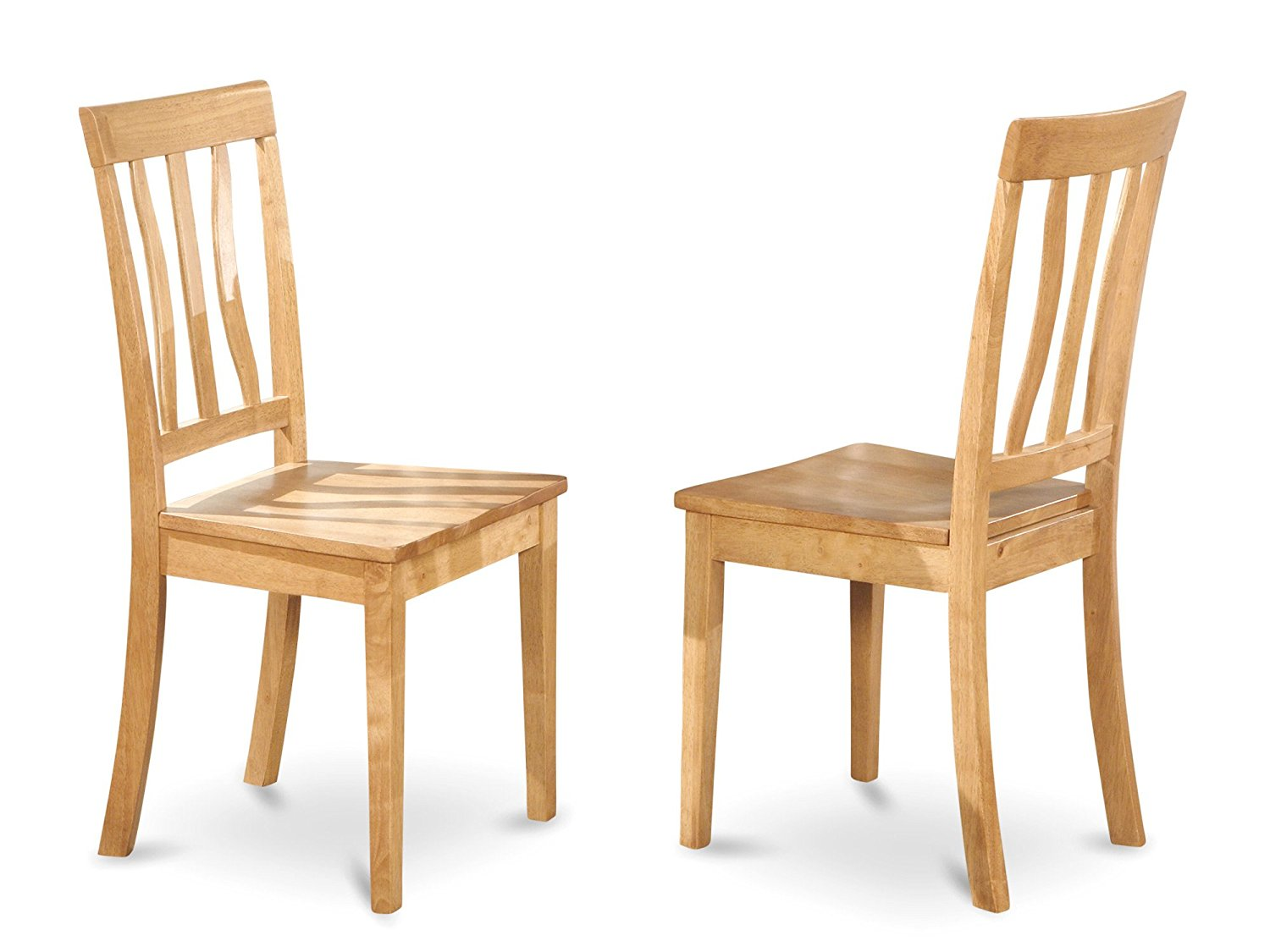 East West Furniture ANC-Oak-W Kitchen/Dining Chair Set with Wood Seat, Oak Finish, Set of 2
