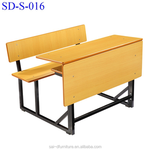 SD-S-016 China Furniture Double High School Desk And Bench, Student School Desk With Bench Chair