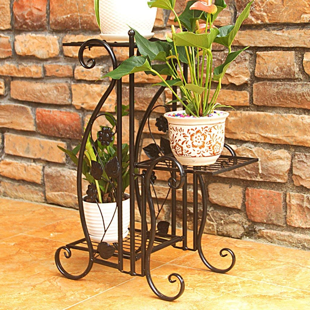 Flower Stand Handmade Vintage Bronze Metal Ties Plant Stands Flower Shelf Display Shelf (Color : A)