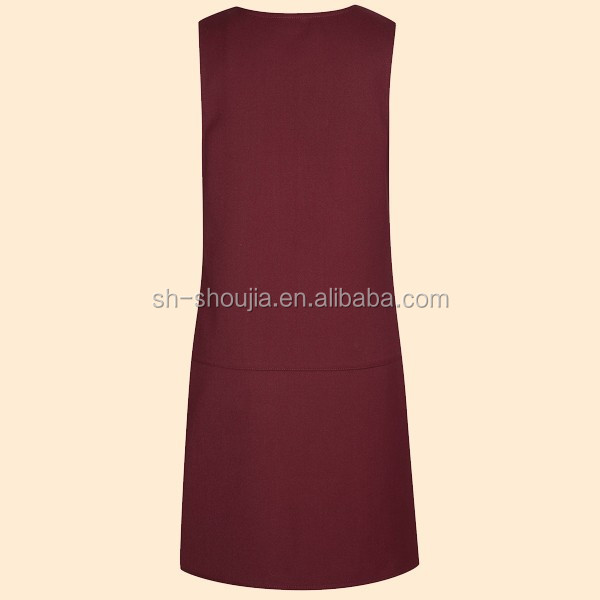 Girls Burgundy University School Uniforms Drop Waist Pinafore