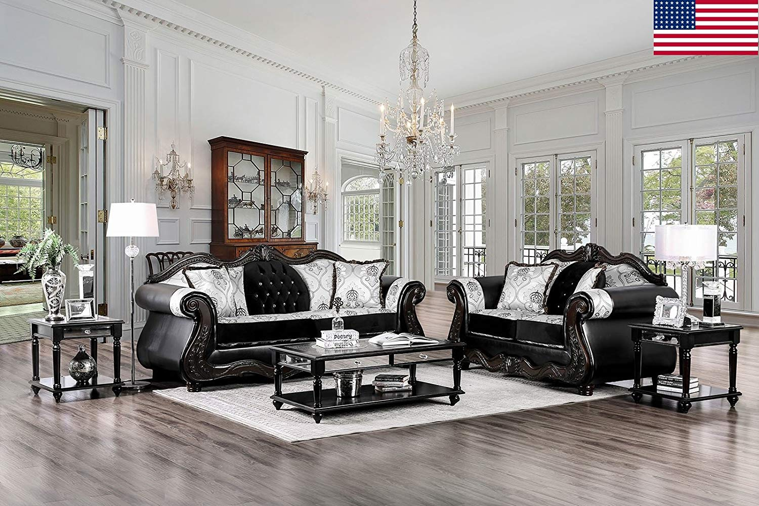 Get quotations · esofastore formal luxurious traditional design unique two tone back black sofa loveseat formal 2pc sofa