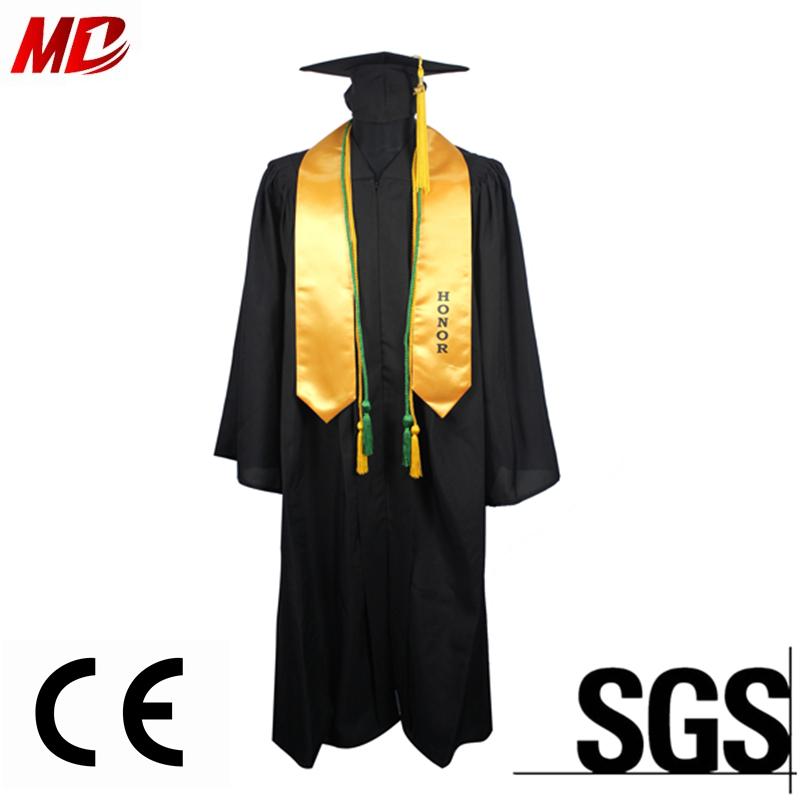 Wholesale Black Bachelor Graduation Gown & Cap And Gold Stole - Buy ...