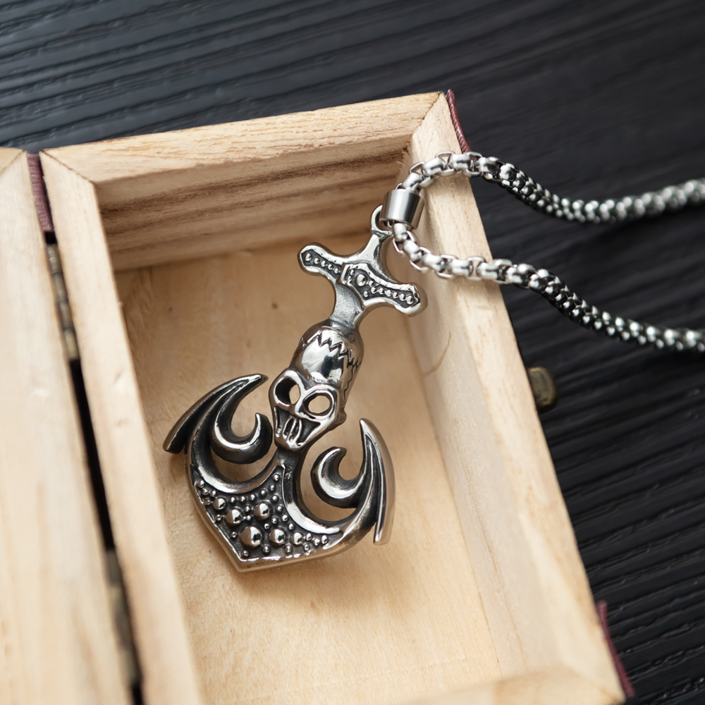 Wholesale Men Accessories Jewelry Anchor Skull Design Stainless Steel Necklace