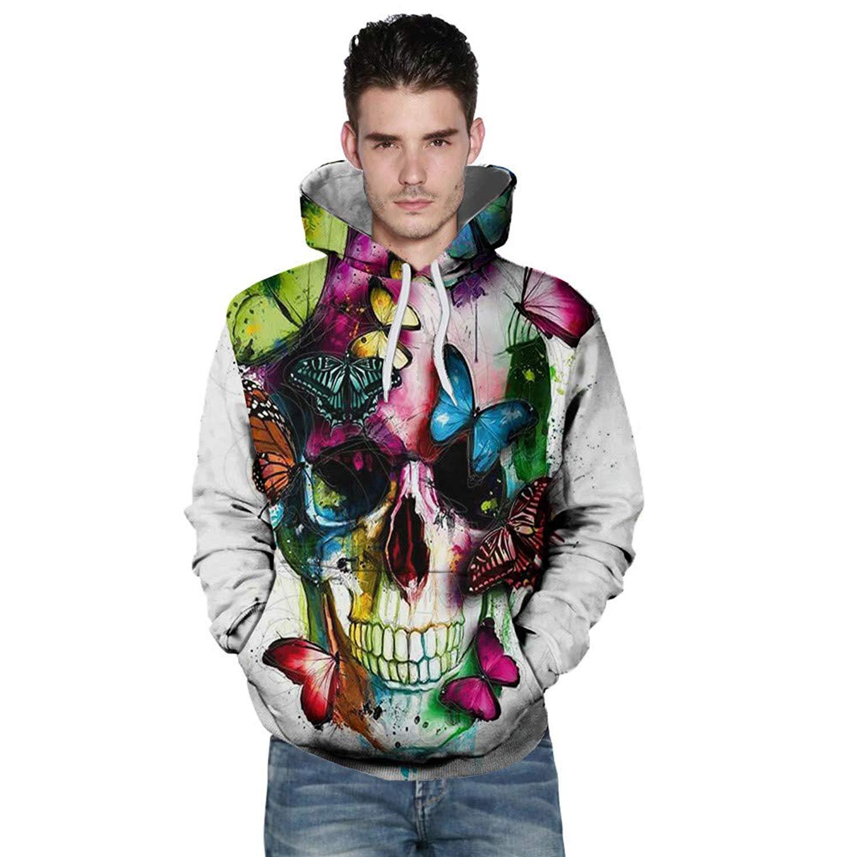 PHOTNO Mens Sweatshirts,Halloween Unisex 3D Print Hooded Sweatshirt Hoodie Jacket Pullover Tops Graphic Hoodies for Men