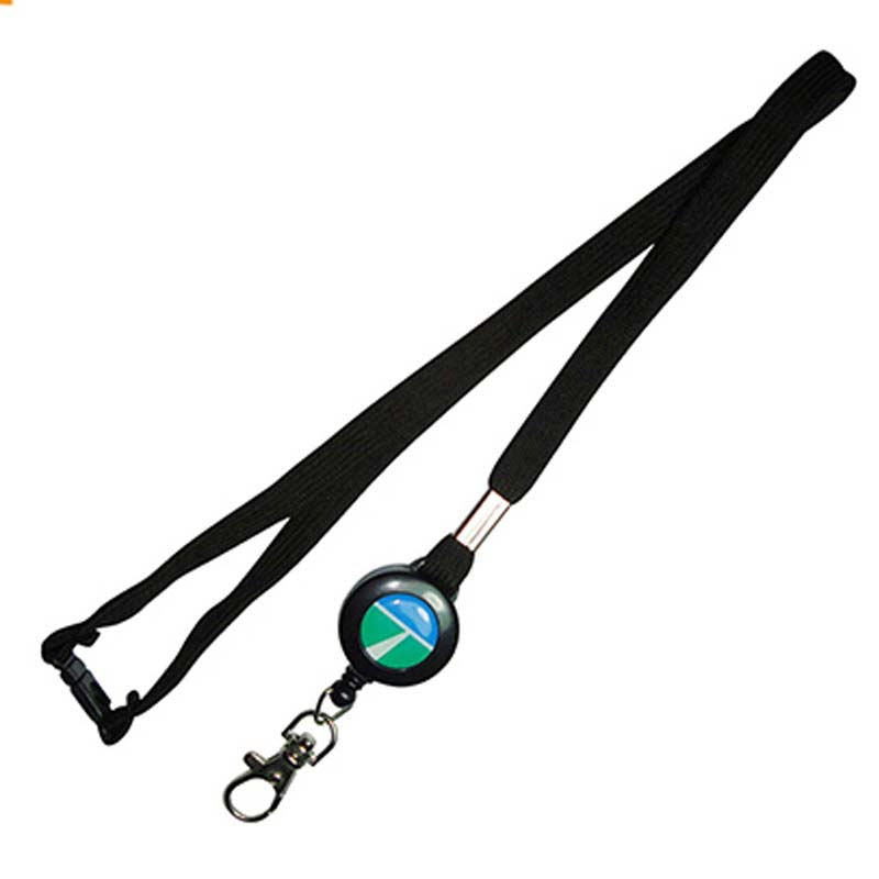 Cheap Round Color Custom Weave Tube Id Lanyard With Retractable Reel