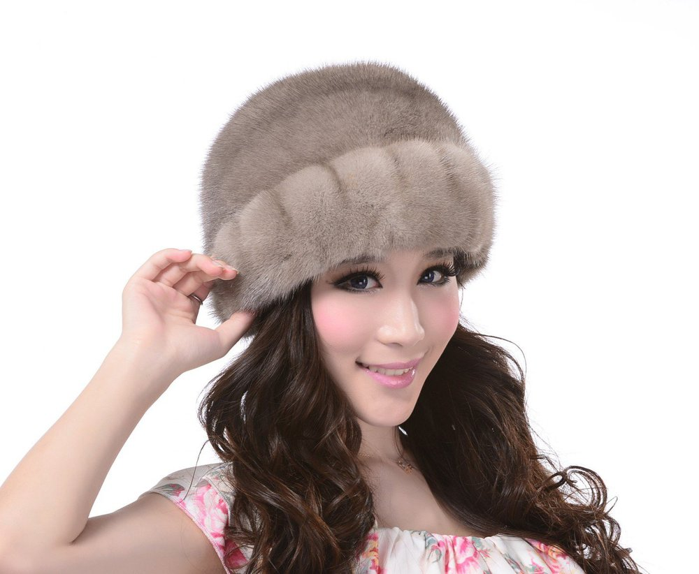 Get Quotations · Mink Fur Roller Hat with Mink Top and Drawstring 0535be0be597