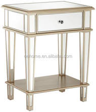 contemporary Mirrored 1-drawer end table for living room