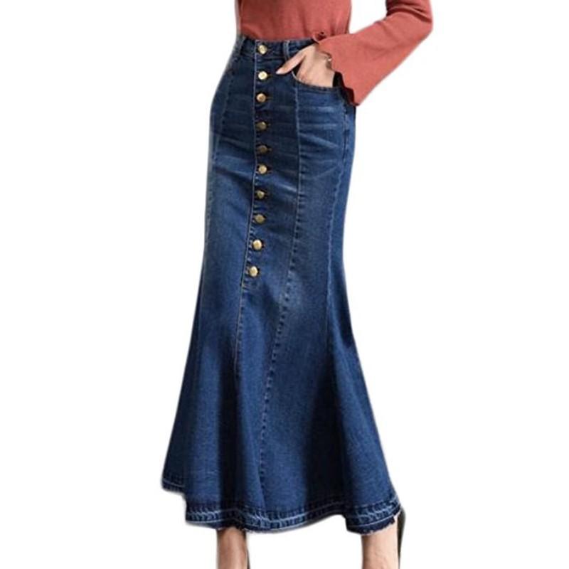 2da4fd511 Venta al por mayor falda jeans larga-Compre online los mejores falda ...