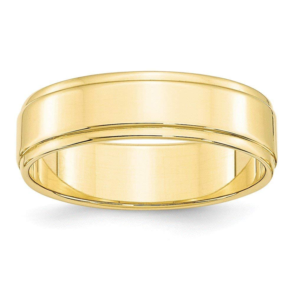 Perfect Jewelry Gift 10KY 6mm Flat with Step Edge Band Size 8