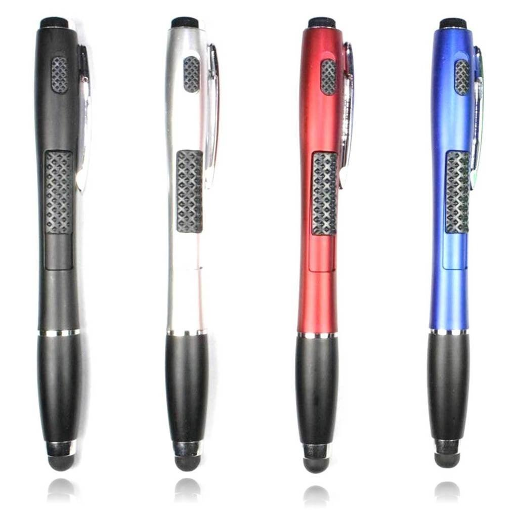 Stylus [4 Pcs], 3-in-1 Universal Touch Screen Stylus + Ballpoint Pen + LED Flashlight For Smartphones Tablets [Black + Silver + Red + Blue]