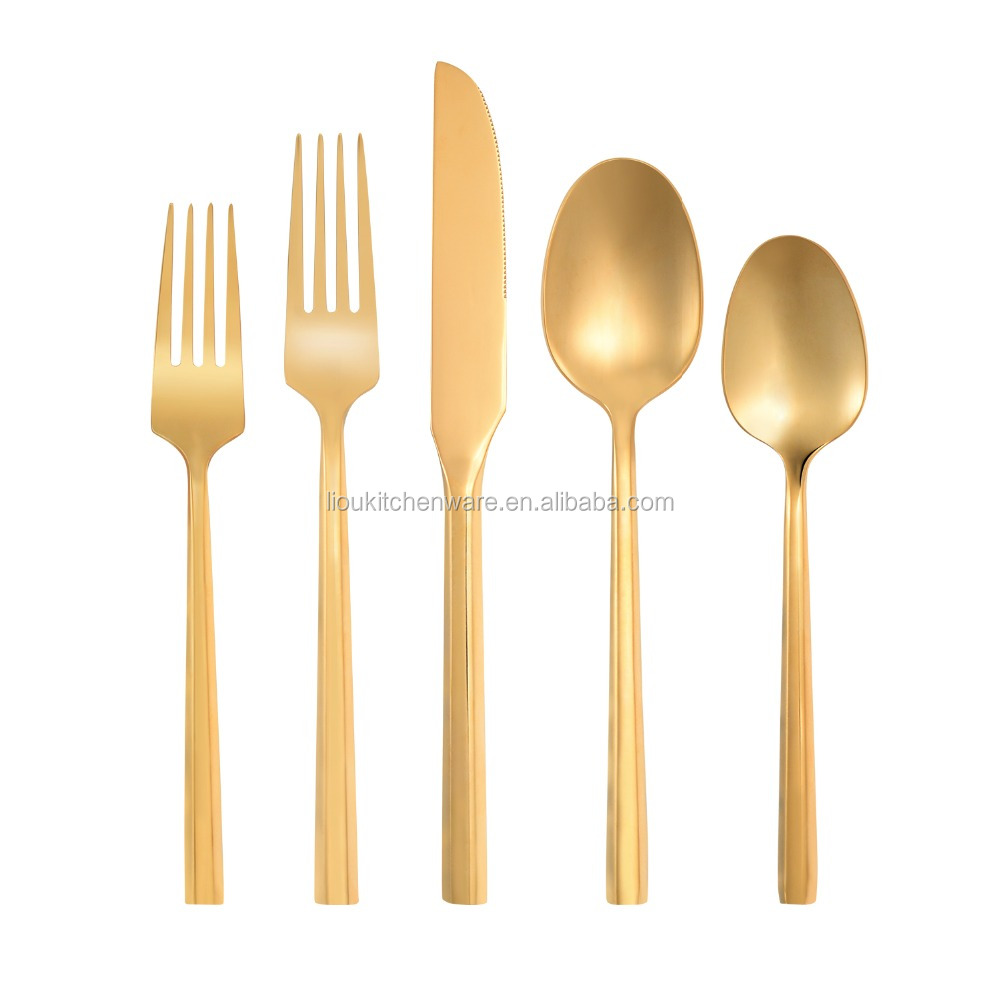 FDA certificated food grade,mirror finish gold cuttlery sets