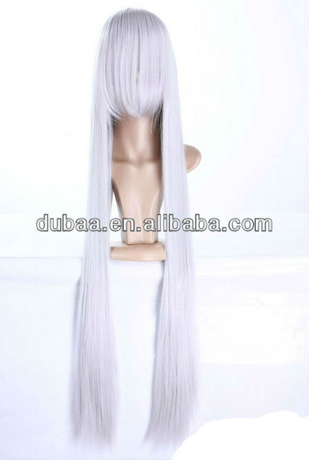 2013 Latest Long Carnival Wigs,Silver Grey Cosplay Costume Party Wigs DB01518 Dubaa Fashion Jewelry for Halloween Synthetic Wigs