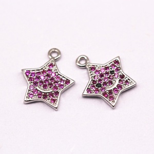 Silver Plated Mirco Pave Pink Zircon Star Shape Zircon Pendant