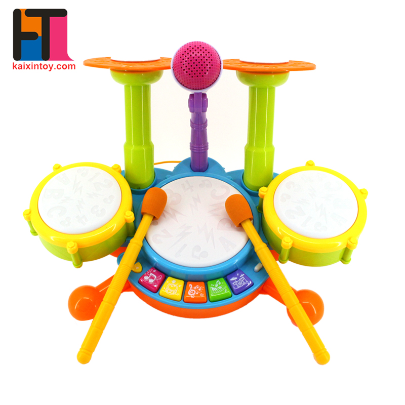musical entertainment toys miniature electronic children drum set with microphone