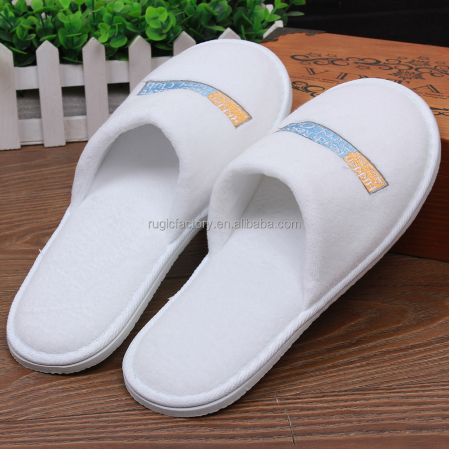 Custom White Color Disposable Terry Washable Hotel Slipper