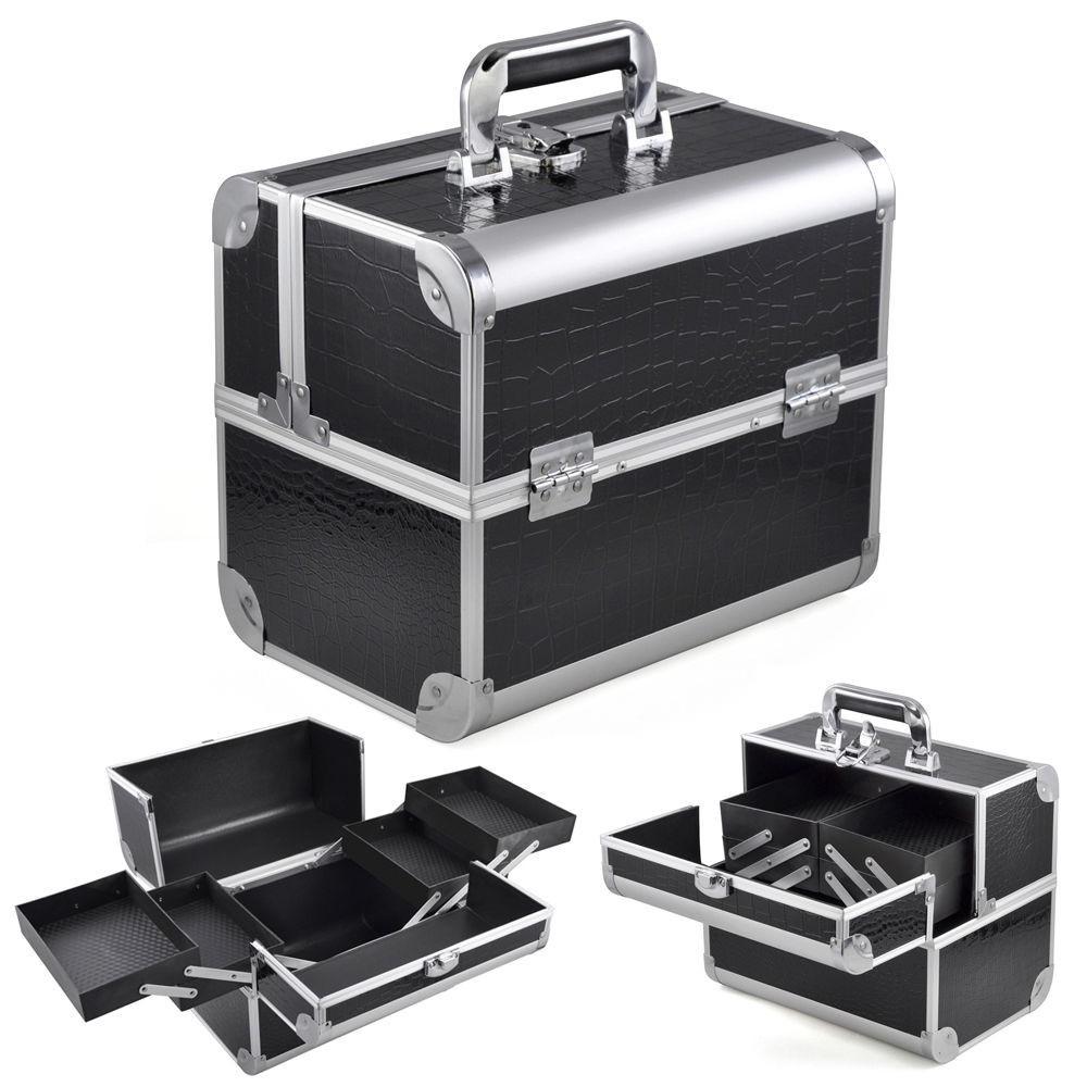 cdcdd64ff Black Crocodile Aluminum Makeup Box Organizers Makeup Brush Case ...