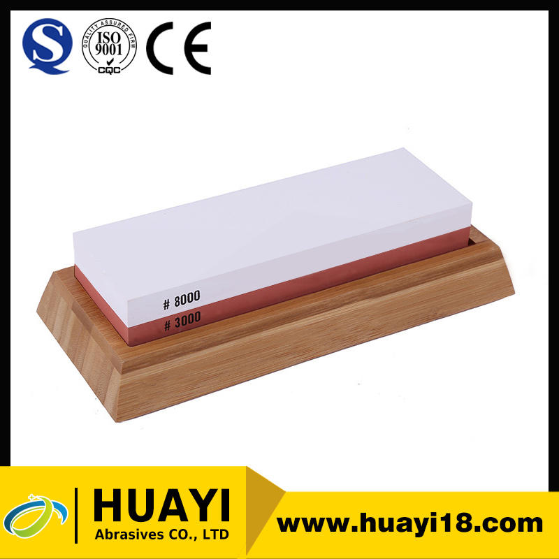 two Sided Professional Grade Knife Sharpening Stone with bamboo base