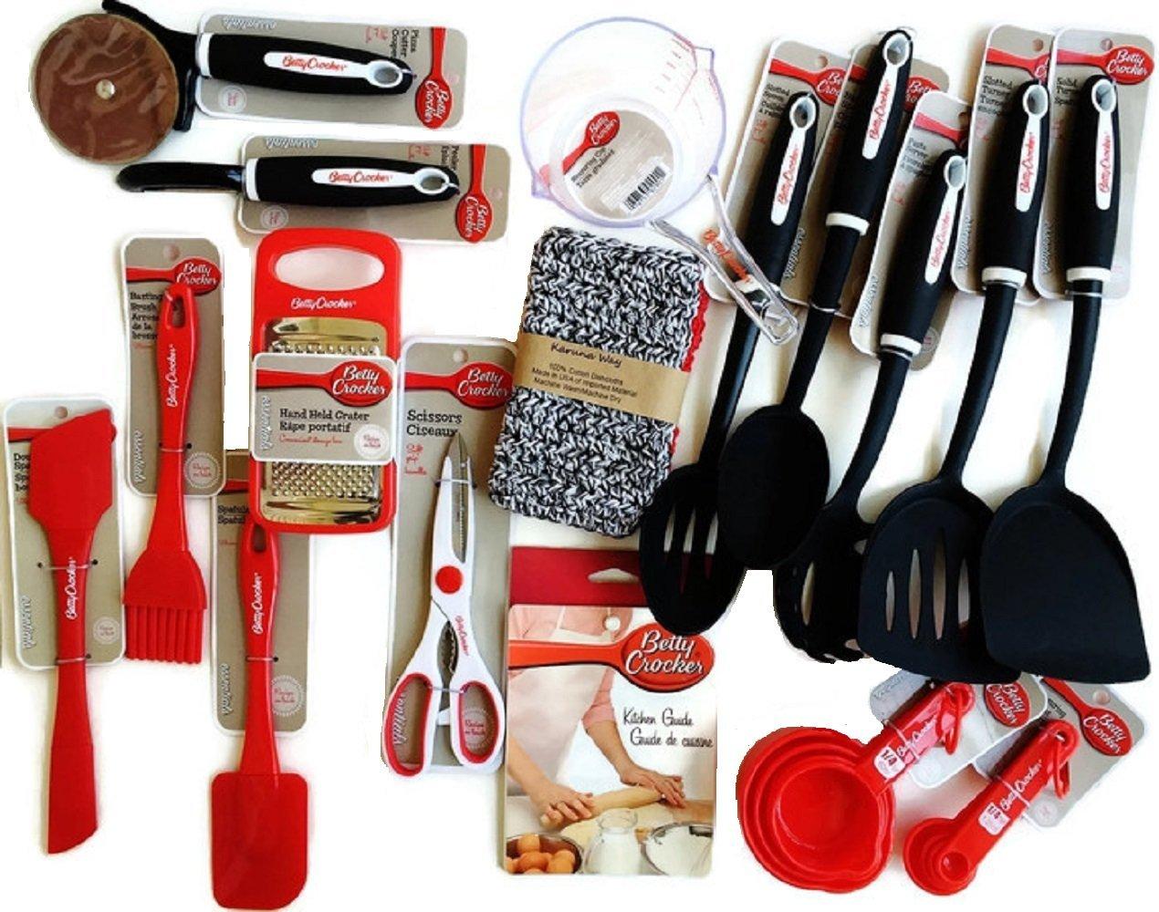 Betty Crocker Kitchen Gadgets, Cooking Utensils, Tools, Supplies, Essentials with Recipes, Hand-Made Cotton Dish Cloths and BONUS Betty Crocker Cake Tester, 18-piece Set